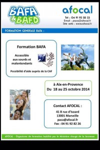 Formation AFOCAL, octobre 2014, à Aix-en-Provence